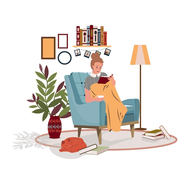 Расслабленная женщина девушка читает книгу и сидит в удобном кресле с кошкой и кофе вектор плоской иллюстрации женский покрывающий плед в уютном домашнем интерьере время для себя и расслабляющей атмосферы