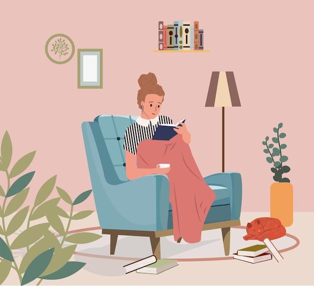 편안한 여자 책을 읽고 편안한 의자 벡터 평면 그림에 앉아 자신을 위한 시간