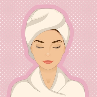 Relaxed woman wearing bathrobe and towel