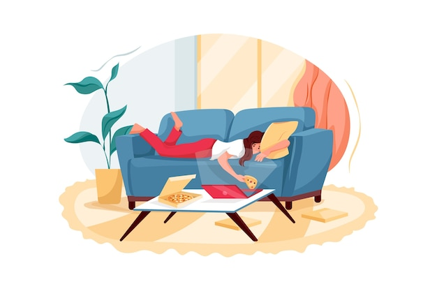 Расслабленная молодая женщина, лежа на диване