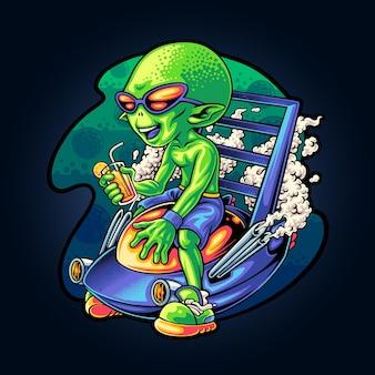 Relaxing alien on space