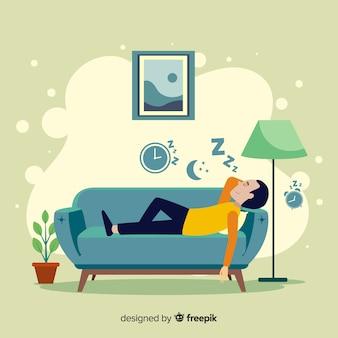 Расслабляющая дома концепция иллюстрации