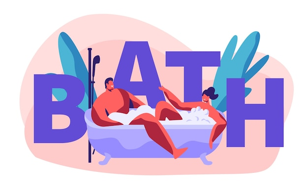 Relaxing and bathing in bath concept illustration