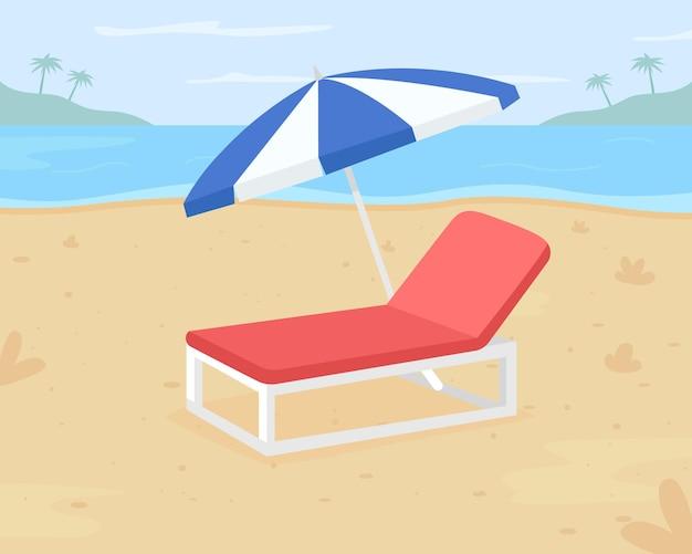 Расслабляющий пляжный отдых плоский цвет. направление на пляж. уличный стул для песчаных поверхностей. расслабляйтесь на шезлонге под зонтиком в 2d мультяшном стиле на берегу моря
