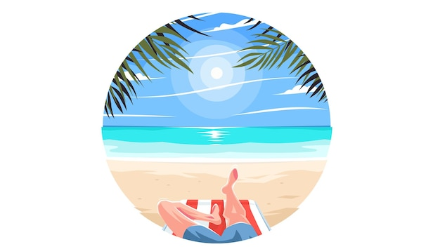 Relaxing on the beach with palm trees a guy in bathing shorts relaxing on a chaise lounge on a sea