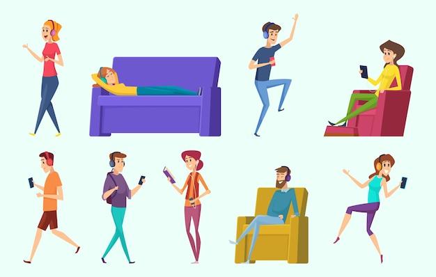 편안한 캐릭터. 사람들은 남성과 여성의 사람을 누워 헤드폰에서 음악을 듣고.