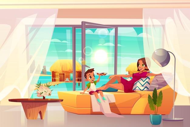 Расслабляющий в роскошный курортный отель номер мультфильм вектор.
