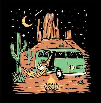 夜のイラストで砂漠でリラックス