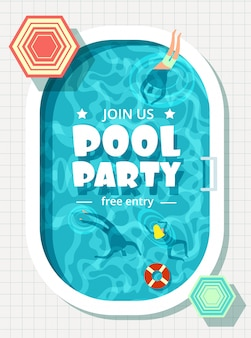 Relaxing man and woman in summer vacation. swimming pool party poster template