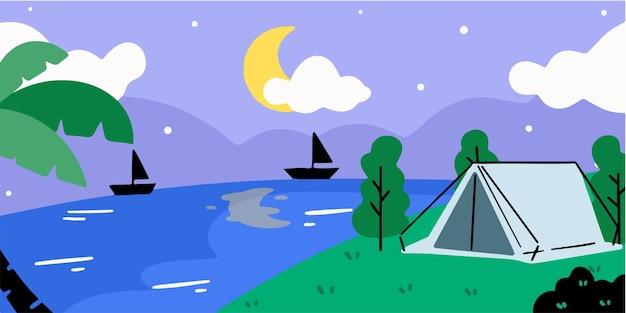 サマーキャンプでのリラックスした夜doodleイラスト限定