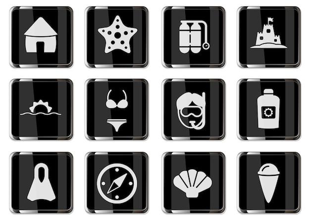 블랙 크롬 버튼의 해변 픽토그램에서 휴식. 디자인에 대 한 설정 아이콘입니다. 벡터 아이콘