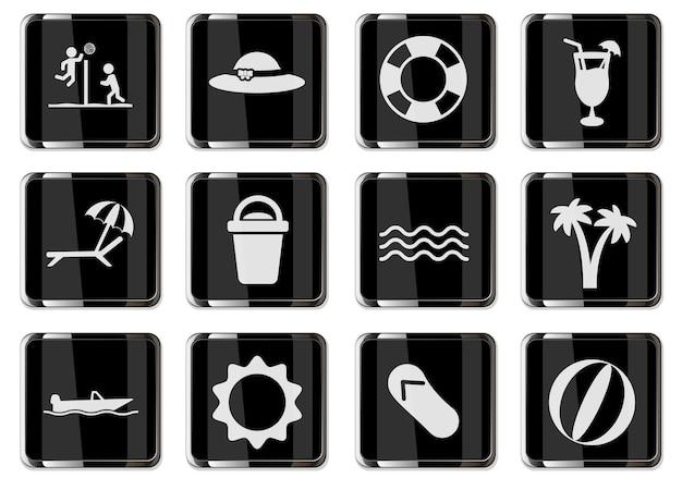ブラッククロームボタンのビーチピクトグラムでリラックス。あなたのデザインに設定されたアイコン。ベクトルアイコン