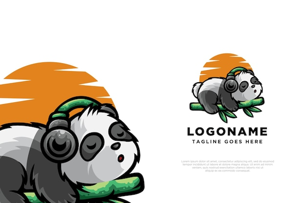 Relaxing panda logo design character