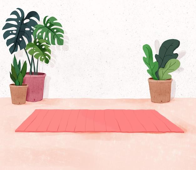 屋内植物と自宅でリラックスしたヨガの背景のフィットネススペース