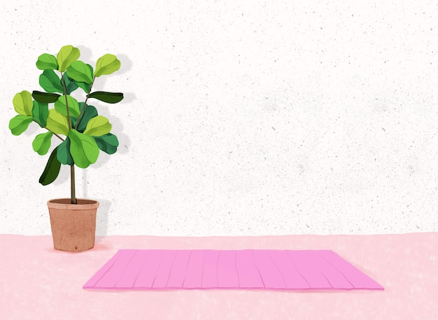 Relaxing yoga background fitness space at home with indoor plants