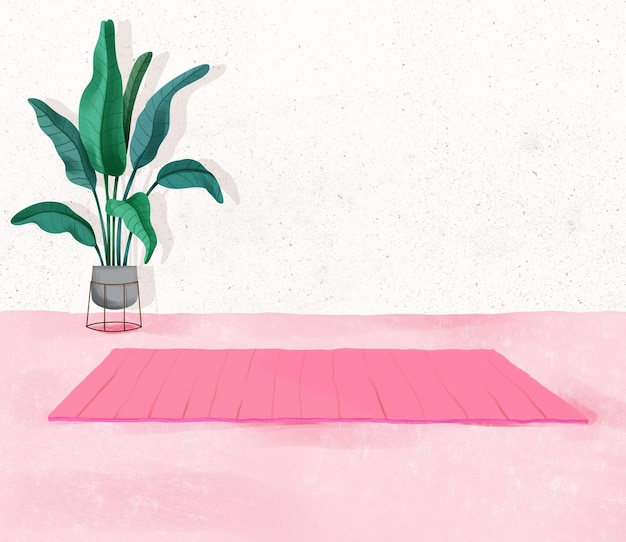 Relaxing yoga background indoor fitness space at home with lots of indoor plants