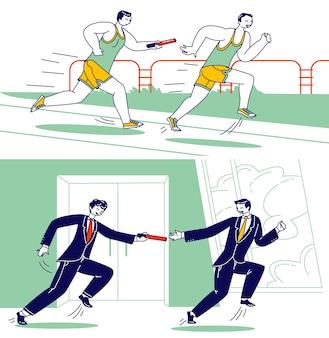 リレー競技、バトンと一緒にスタジアムやオフィスの廊下を走る男性キャラクター。スポーツマンとビジネスマンは、距離走スプリントレース、チームワークを克服します。線形の人々のベクトル図