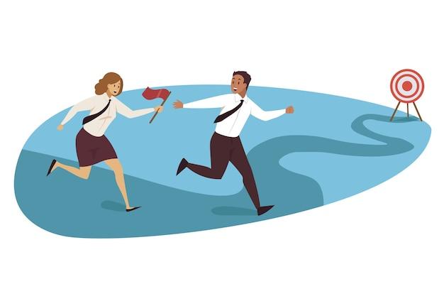 Relay race, targeting, teamwork business.