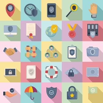 Набор иконок надежности плоский вектор. принципы работы с клиентами. доверие к социальной надежности