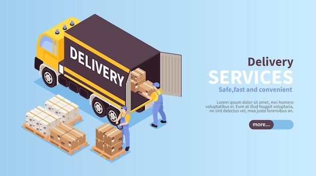 信頼性の高いロジスティックサービスの等尺性ウェブバナー、荷降ろしローカル貨物配送車両