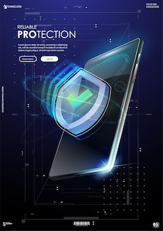 Reliable protection banner, shield in futuristic style.