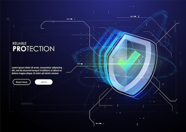 Reliable protection banner with shield in futuristic style.