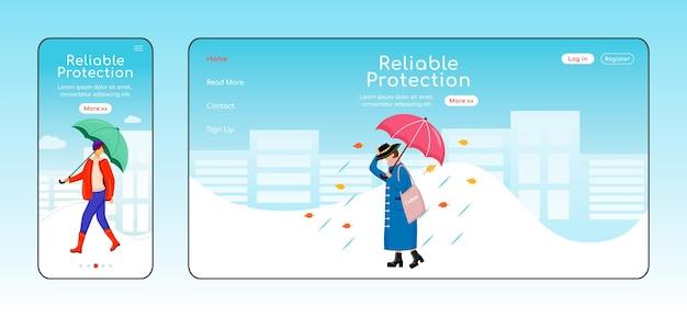 Плоский цветной шаблон целевой страницы надежной защиты. мобильный дисплей. макет домашней страницы rainywear. модная женщина на одной странице веб-сайта, мультипликационный персонаж. дождливый день веб-баннер, веб-страница