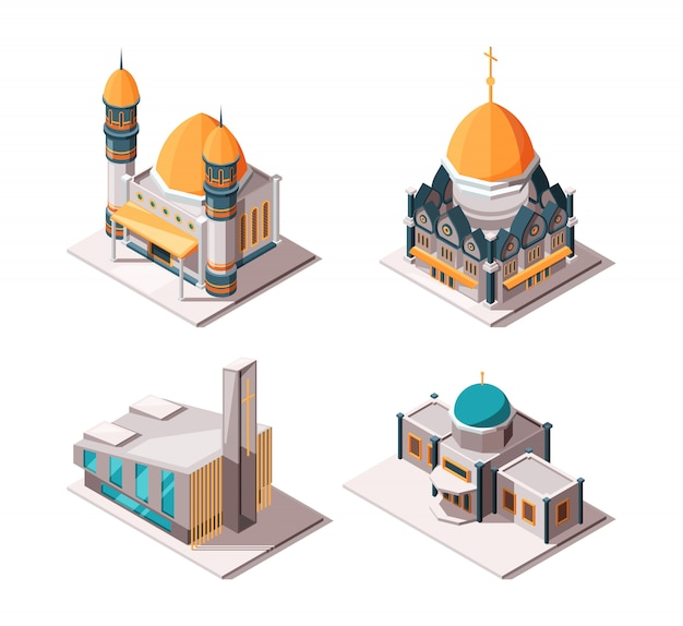 Religion buildings. muslim mosque lutheran church christian and catholic cultural traditional religion  objects
