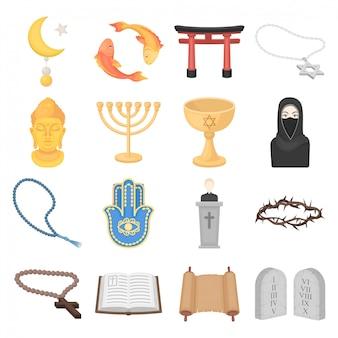 Religion cartoon set icon