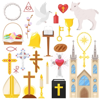 Religion  catholic church or cathedral and religious sings of christianity illustration set of christian cross or bible with candles  on white background