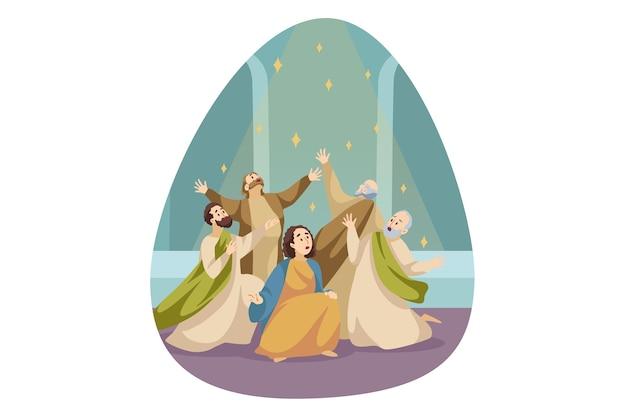 宗教、キリスト教、聖書の概念。トリニティの息子の父と聖霊から祝福を受ける男性、女性、キリスト教徒のキャラクターの群衆グループ。ペンテコステまたはウィットサンデーの宗教上の祝日。