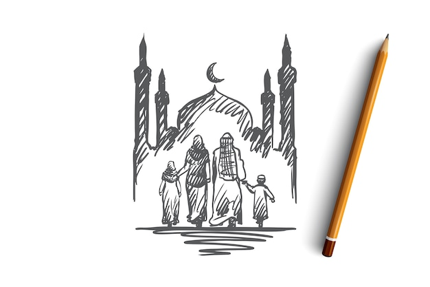 Religion, family, muslim, arabic, islam, mosque concept. hand drawn traditional muslim family with kids concept sketch.