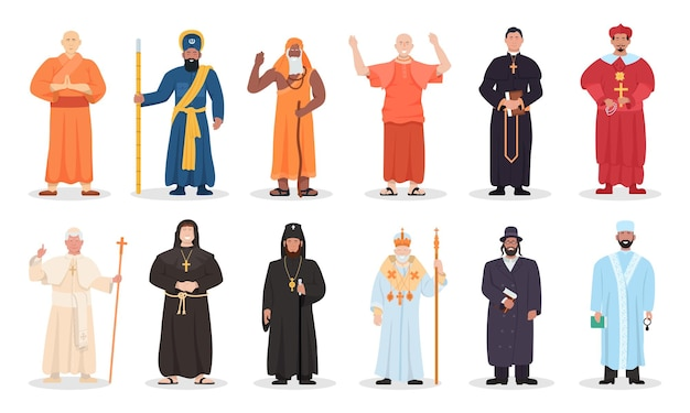 Religion leader and religious priest of different confession. set of various faith belief prayer in muslim, christian, judaism, buddhism mantle uniform vector illustration isolated on white background