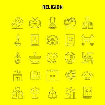 Religion line icons set: coffin, holidays, religion, religion, pray, church, muslim