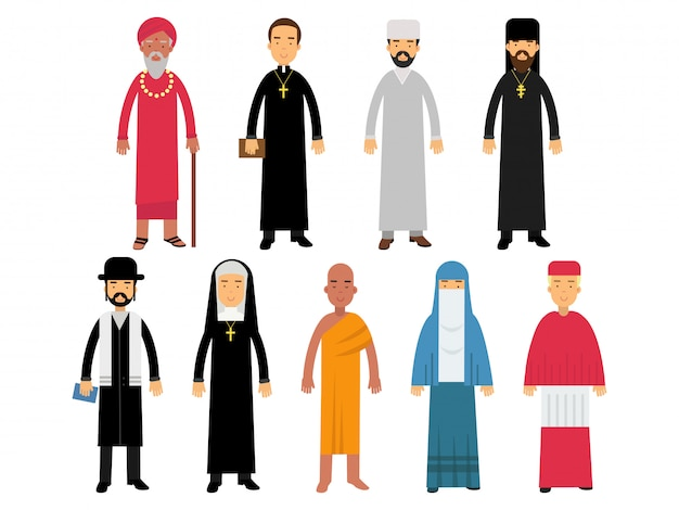 Religion ministers set, representatives of buddhism, representatives of catholicism, islam, orthodoxy, hinduism, judaism religions   illustrations