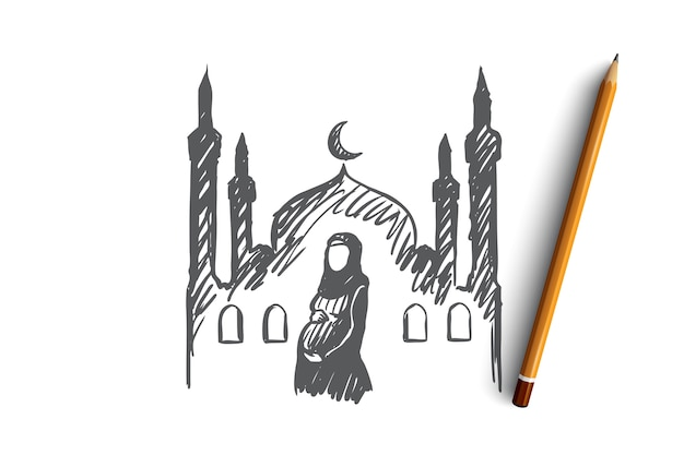 Religion, pregnancy, muslim, arabic, islam, mosque concept. hand drawn pregnant muslim woman, mosque on background concept sketch.
