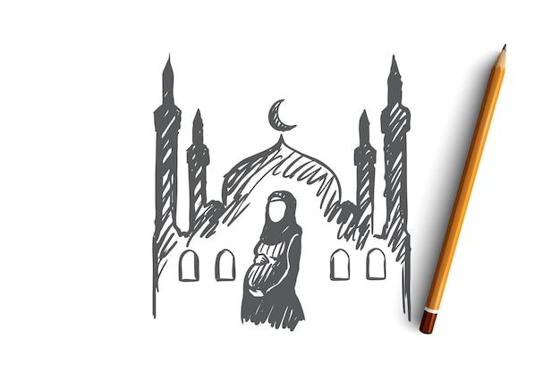 종교, 임신, 이슬람교도, 아랍어, 이슬람교, 모스크 개념. 손으로 그린 된 임신 무슬림 여성, 배경 개념 스케치에 모스크.