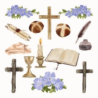 春の青い花と宗教的な聖書