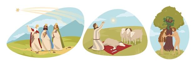 Религиозная библейская серия об адаме и еве в эдемском саду