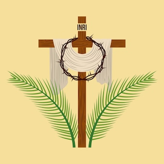Religious cross crown and palm branches