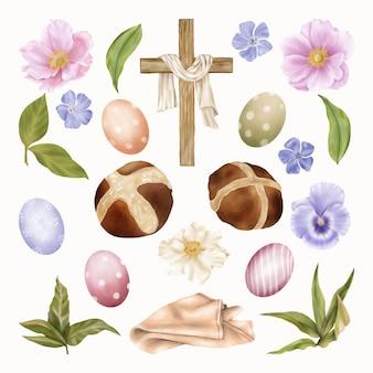 종교적인 부활절 클립 아트 십자가, 봄 푸른 꽃과 계란 프리미엄 벡터