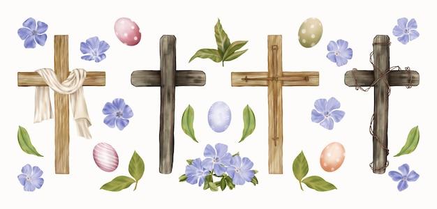 宗教的なイースタークリップアートの十字架、卵、春の花