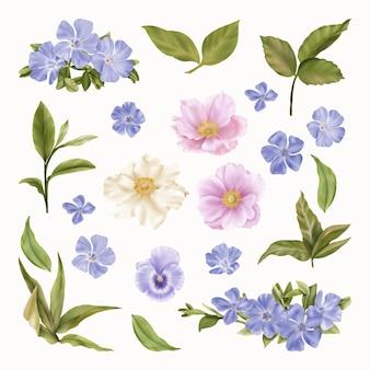 春の青い花と宗教的なイースタークリップアート