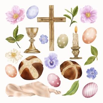 宗教的なイースターの要素はクリップアートを設定します。