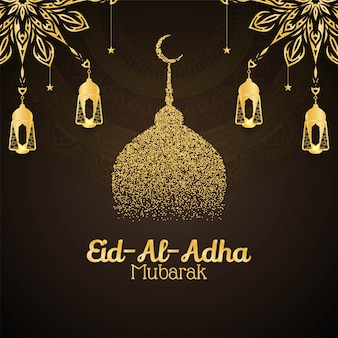 Religious eid al adha mubarak decorative card