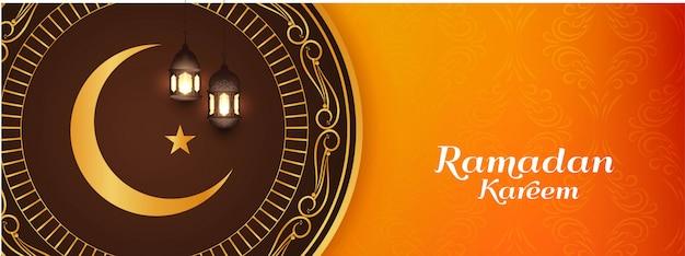 Religious eid mubarak islamic bright banner design