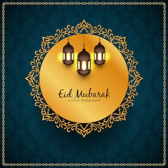 Religious eid mubarak islamic golden frame background