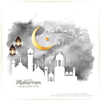 宗教祭ハッピームハッラムとイスラムの新年の背景ベクトル