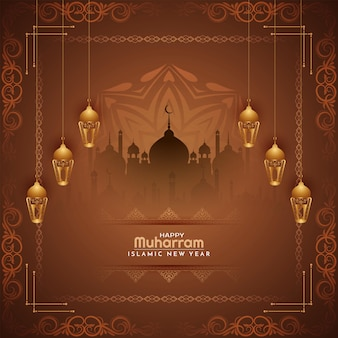 宗教祭ムハッラムとイスラムの新年の背景ベクトル