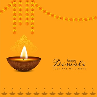 Religious happy diwali background design with garland